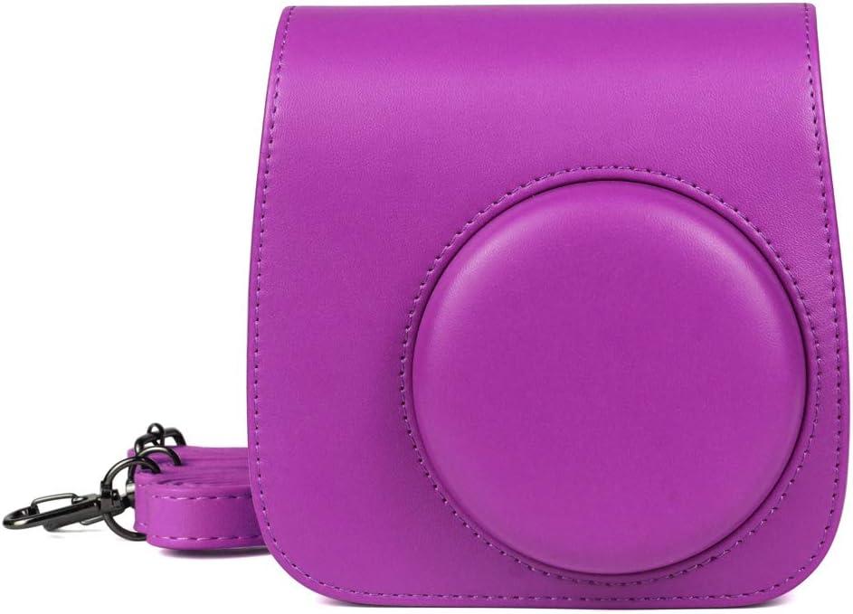 mit Schulterriemen f/ür Kamera Fujifilm Instax Mini 9 Mini 8 Mini 8 einfarbig violett Anjuley Schutzh/ülle aus PU-Leder