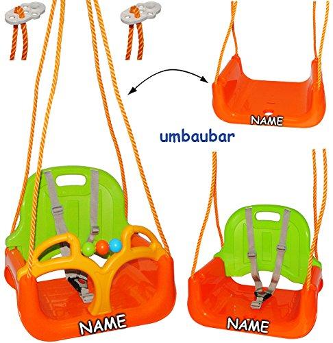 alles-meine.de GmbH 3 in 1 : Kinderschaukel incl. Name - Gitterschaukel - Innen und Außen / Garten - für Baby´s Kinder aus Kunststoff / Plastik - Schaukel für Kinder