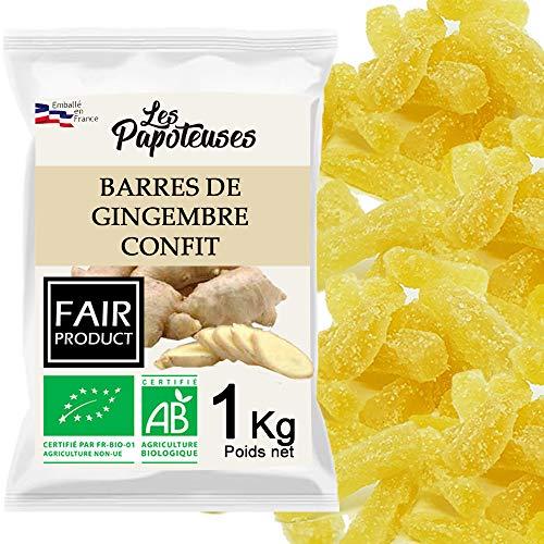Les Papoteuses | Gingembre confit bio en barres 1 kg | Certifié Biologique | Filière Commerce Équitable | 100% naturel | Fruits Confits de Qualité Supérieure | Sans Conservateur