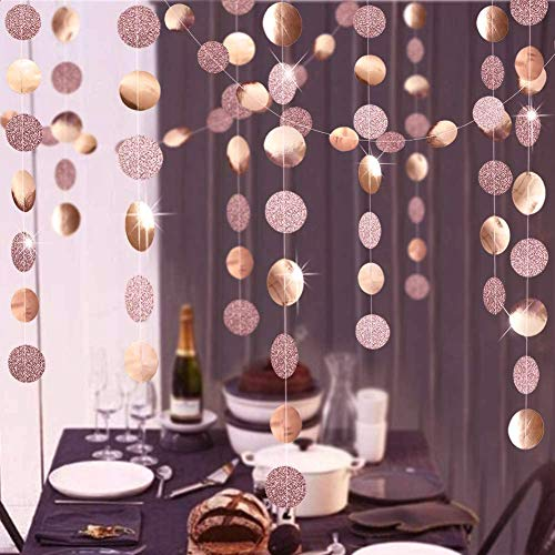 Valentine's Day Decorations Engagement 4 Pack Twinkling Party Decorations Glittering Garlands Streamers Bunting Banner Backdrop (Rose Gold)