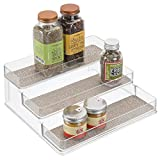 iDesign Twillo Plastic Stadium Spice Rack, 3-Tier Organizer for Kitchen Pantry, Cabinet, Countertops, Vanity, Office, Craft Room, 9.2' x 10' x 4', Metallico and Clear