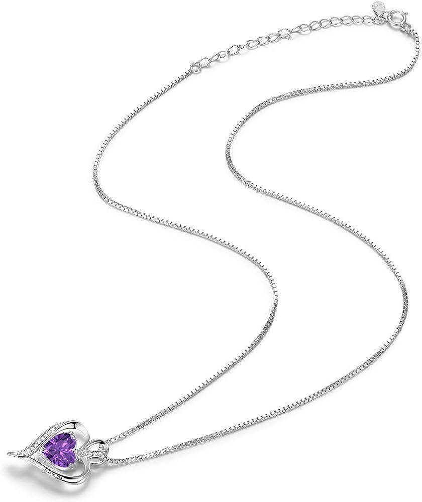 Collar de Mujer Amor Colgante de Coraz/ón Oro Rosa Plata de Ley 925 Collares de Mujer,Joyas Regalos para Esposa Cumplea/ños Navidad Aniversario d/ía de San Valent/ín Regalo Novia Mam/á