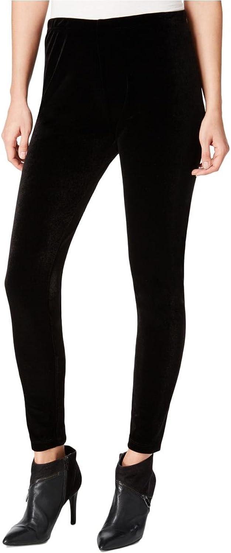 Bar III Womens Velvet Flat Front Leggings Black L