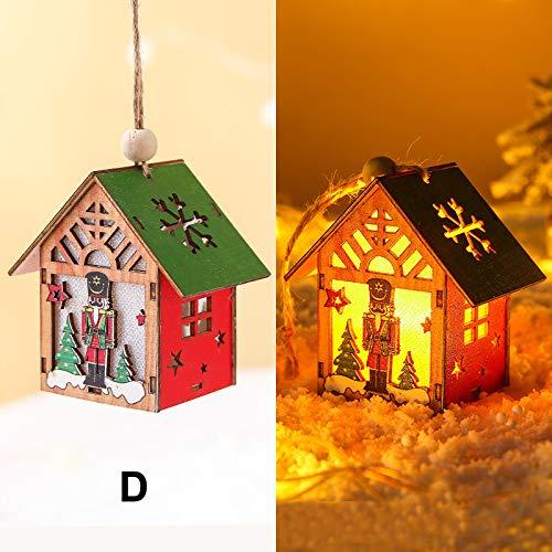 Maxte Colgante de madera de nogal para decoración de Navidad con lámpara.