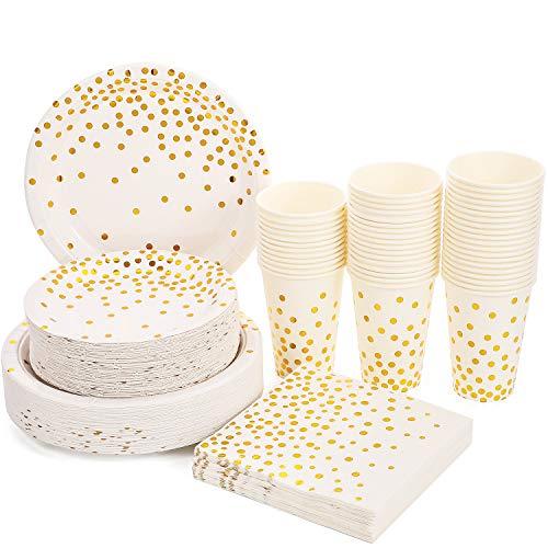 Weiß und Gold Party Supplies 200PCS Einweg White Paper Teller 12oz Tassen Servietten Geschirr Set Golden Dot Theme Party für Brautdusche, Geburtstag, Hochzeit, Verlobung, Housewamring, Für 50 Personen