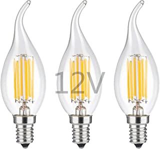 OPALRAY LED Candelabra Bulb,12V Low Voltage, Dimmable with DC Dimmer, 6W 600Lm, 60W Incandescent Equivalent, Warm White Light, E12 Small Base, Clear Glass Flame Tip, 12V to 24V Power Supply, 3 Pack