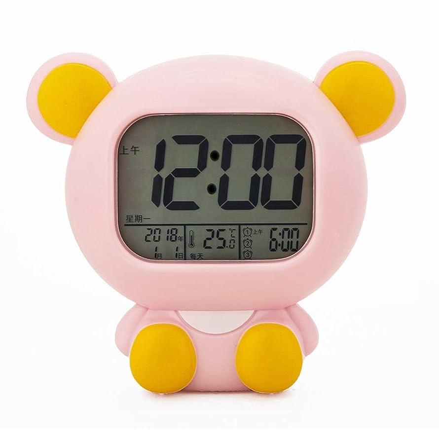 開いたハブブ嫌悪SGLI 充電漫画目覚まし時計かわいい学生サイレント子供電子時計デジタルアラーム多機能ナイトライト-16センチ (Color : Pink)