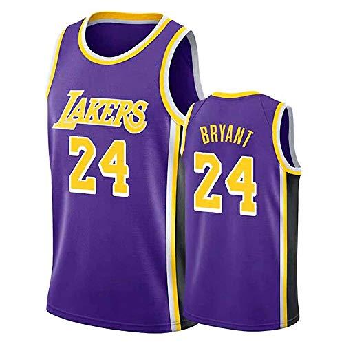 Camiseta de baloncesto para hombre, Lakers 24# Kobe Bryant uniforme, bordado Tops Hip Hop, malla de secado rápido, uniforme de entrenamiento para hombre, morado, L