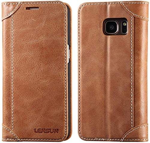 LENSUN Echtleder Hülle für Samsung Galaxy S7, Echtes Leder Handyhülle Handytasche mit Magnetverschluss S7 Lederhülle (5,1 Zoll) - Braun
