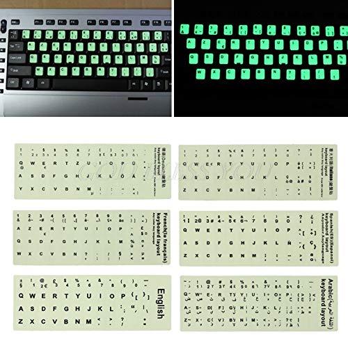 Boner Fluorescerende toetsenbordstickers Optionele taal Lichtgevend waterdicht toetsenbord Beschermfolie, Arabisch