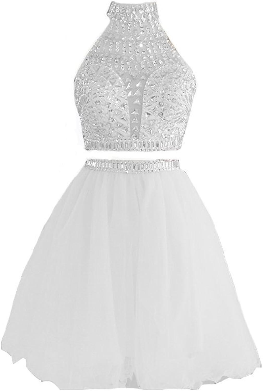 Kivary Backless Sheer Halter Crystals Beaded 2 Pieces Short Prom Homecoming Dresses