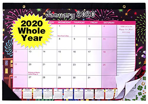 2020 Desk Calendar 2020 Desk/Wall Calendar 17 x 12 Inch Jan 2020 – Dec 2020 Large Monthly Pages Ruled Blocks Tear Off Desk Pad Academic Year Calendars Daily Schedule Planner for Family Home and Office