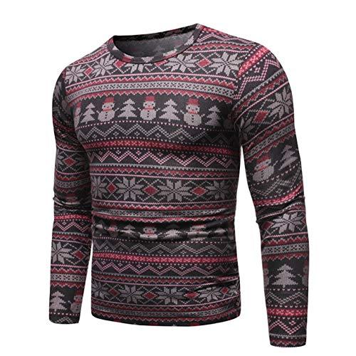 Patrón Decorativo de Navidad de los Hombres Impreso Estilo étnico de Manga Larga otoño Invierno Hip Hop Camisa