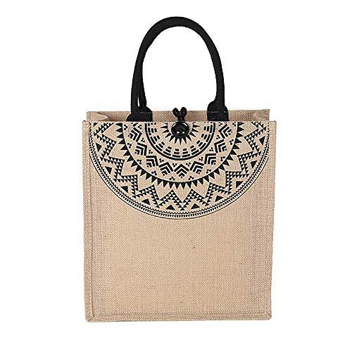 No/Brand Women Linen Luxury Tote Large Capacity Female Casual Shoulder Bag Lady Daily Handbag Fresh Beach Shopping Bag