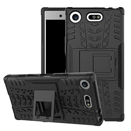 WindCase Xperia XZ1 Compact Hülle, Outdoor Dual Layer Armor Tasche Heavy Duty Defender Schutzhülle mit Ständer Case für Sony Xperia XZ1 Compact Schwarz