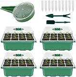 XNX 4 Stück Anzuchtschalen setzling,Mini Gewächshaus Anzucht Set,Gewächshaus Anzucht Schale Töpfe Kunststoff Anzuchtschalen mit Gartengeräte Klein und Pflanzenetikett (Grün)