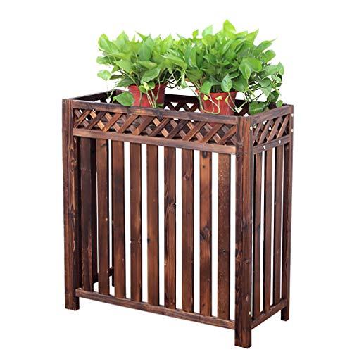Rack de aire acondicionado Rack de flores Acondicionador Persianas de carcasa, Cubierta de aire acondicionado Almacenamiento de plantas al aire libre, Aire acondicionado de madera Marco exterior Cub