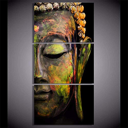 Buddha Wall Art Home Wall Decorations for Bedroom Living Room Oil Paintings Canvas Prints (Unframed-No Framed,16x24inchx3)