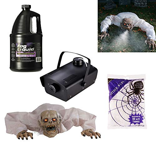 Party City Super Fog Machine Halloween Supplies, Include a Fog Machine, a Ghoul Cover, Fog Juice, and Spider Webbing