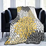 Ultra Soft Micro Fleece Durable Floral Soft Yellow Gray White Throw Blankets Soft Warm Blanket Sheet for Bed Bedding Sofa Office Living Room Home Decor 60'X50'