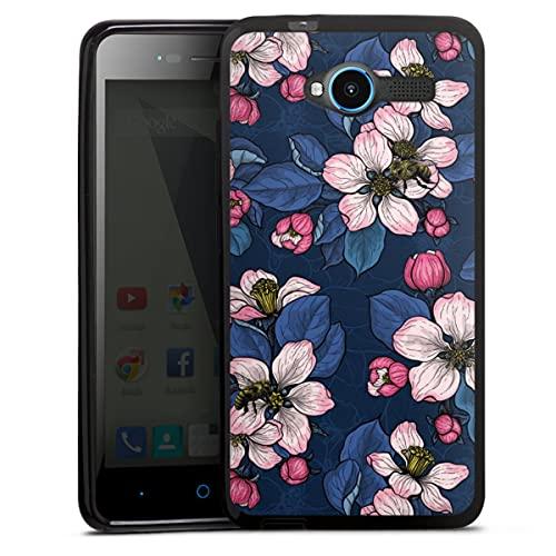 DeinDesign Silikon Hülle kompatibel mit ZTE Blade L3 Hülle schwarz Handyhülle Blumen Sommer Malerei