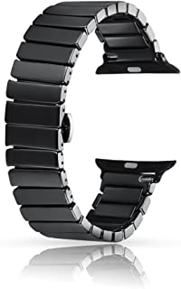 Ceramic Bands for Apple Watch 42mm, YOUKEX Luxury Ceramic Bracelet Replacement Wristband with Butterfly Buckle for iWatch Series 3/2/1 Women Men (Black 42mm)