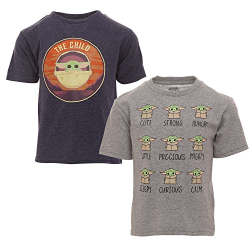 STAR WARS The Mandalorian Baby Yoda Big Boys 2 Pack T-Shirts Blue/White 7-8