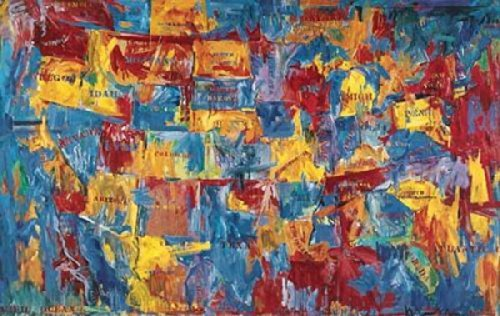 Map by Jasper Johns United States America Abstract Cool Warm Colors Print Poster 47x68 by The Picture Peddler Inc.