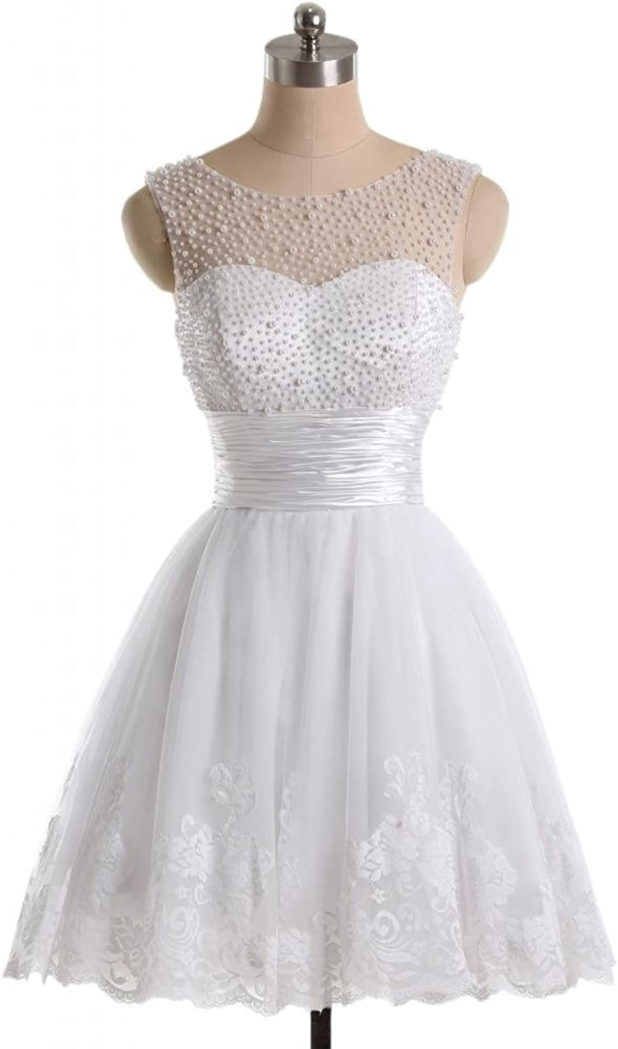Angel Bride 2015 White Mini ALine Pearl Satin Tulle Lace Homecoming Birthday Dresses