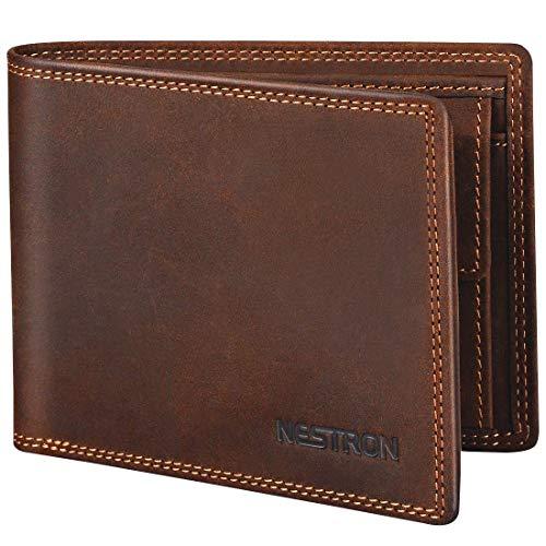 Geldbörse Herren mit Doppelnaht und RFID Schutz, Portemonnaie Männer aus Vintage-Echtleder, Geldbeutel Portmonaise Portmonee Geldtasche Brieftasche von Nestron