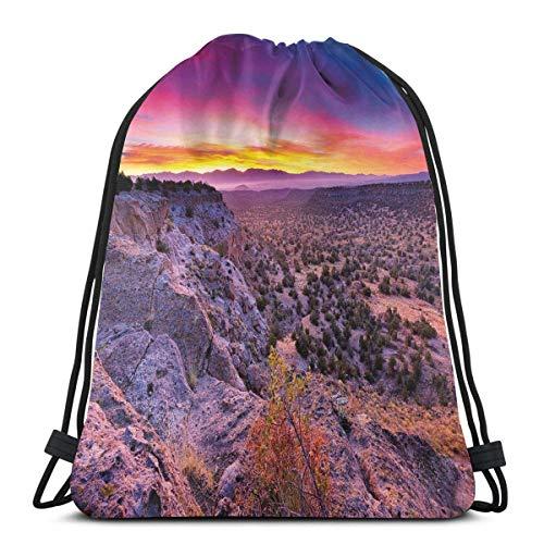 Hangdachang Surréaliste Sunrise Sky Horizon Over Mountain Valley National Monument Impression crépuscule Fermeture à cordon réglable Imprimé cordon