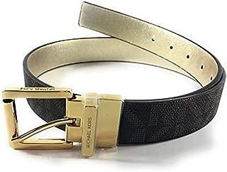 Michael Kors Women's MK Monogram Reversible Belt - Brown, Gold (X-Large)