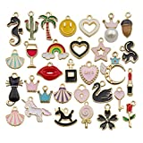 iloveDIYbeads 30pcs Assorted Enamel Gold Plated Animals Fruit Moon Star Dainty Dangle Charm for Jewelry Making Necklace Bracelet Ankle Earring Jewelry DIY Findings (M300)