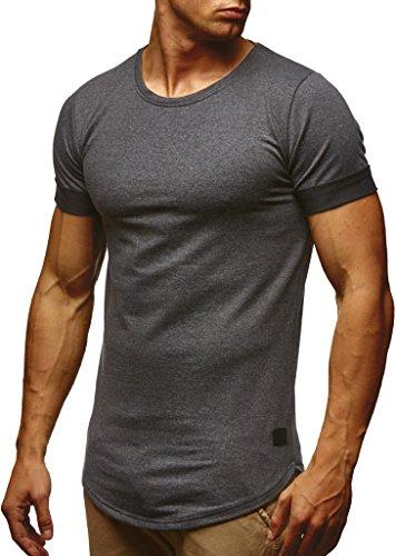 Leif Nelson Herren Sommer T-Shirt Rundhals-Ausschnitt Slim Fit Baumwolle-Anteil Moderner Männer T-Shirt Crew Neck Hoodie-Sweatshirt Kurzarm lang LN6368 Anthrazit Large