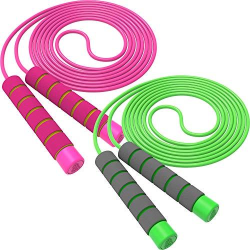 Svkiyang Springseil Kinder Verstellbare,seilspringen Sport 2 Stück 240CM,3-12 Jahre alt für Jungen und Mädchen ideal für Fitness Training/Spiel/Fett Brennen Übung (Rosa-Grün)