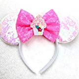 CLGIFT Birthday Neon Pink Minnie Mouse Ears Headband, Sequins Bow, Silver gold blue minnie ears, Rainbow Sparkle Mouse Ears,Classic Red Sequin Minnie Ears (Birthday Pink)