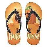 Mnsruu Happy Halloween Bat Pumpkin Flip Flops Flip Sandal Home Slippers Hotel Spa Dormitorio Viajes M para Hombres Mujeres