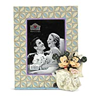 """Disney Traditions Mickey & Minnie Mouse Wedding Frame Product Item Number: 6001368 Holds a 3.5"""" x 5"""" Photograph (portrait orientation). Artist: Jim Shore"""
