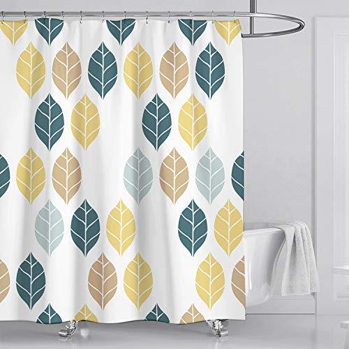 Fuloon Duschvorhänge Set für Badezimmer, Anti-Schimmel, Wasserdichter, Waschbarer,mit 12 Duschvorhängeringen, 180x180cm (Weiß/Blatt)