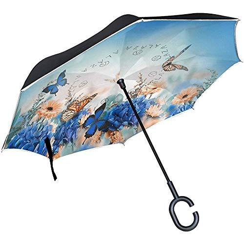 Schöne Schmetterlings-Gänseblümchen-Blumen-Landschaftsumgekehrter Regenschirm, großer Regen Sun Car Reversible Umbrella der doppelten Schicht im Freien