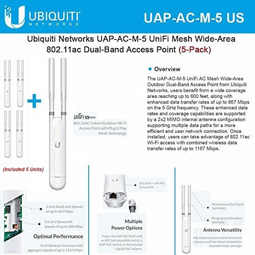 Ubiquiti Networks UAP-AC-M-5 UniFi Mesh Wide-Area 802.11ac Dual-Band Access Point (5-Pack).