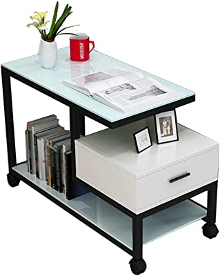 C-J-Xin Mobile Small Coffee Table, Sofa Cabinet Side Glass Corner A Few Living Room Creative Corner Table Bedside Table 65-90CM Save Space (Color : C-90 * 40 * 55CM)