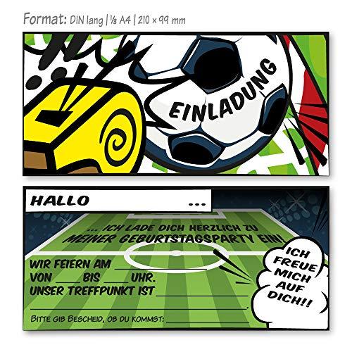 12 Fußball Einladungskarten für Kindergeburtstag und Partys, Die Kinder Geburtstagseinladung für alle Fußballbegeisterten Jungen und Mädchen (12 Einladungskarten ohne Kuvert)