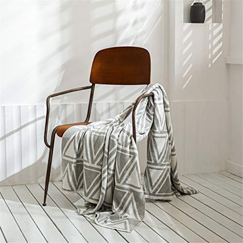 Tiro de punto suave Manta Blanco Blanco Geométrico Acogedor de punto Textura de punto Manta de tela escocesa para colcha Sofá Sofá cubierta, 130x160cm,Blanco
