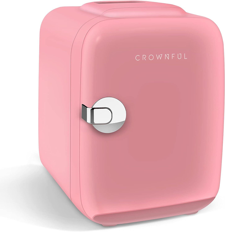 CROWNFUL Mini nevera, 4 litros/6 latas refrigerador portátil y calentador refrigerador personal para el cuidado de la piel, cosméticos, bebidas, alimentos, ideal para dormitorio, oficina, coche, dormitorio, etc.