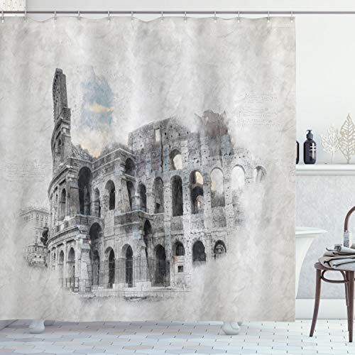 """Ambesonne Sketchy Shower Curtain, Historical Ruins Colosseum Artwork Italy Rome Antique Cultural Inspiration, Cloth Fabric Bathroom Decor Set with Hooks, 70"""" Long, Beige Black"""