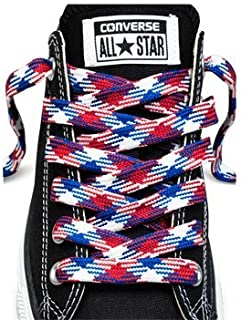 Converse Unisex Replacement Cord Shoe Laces Flat Style Shoelaces (Red, White, Blue, 45)