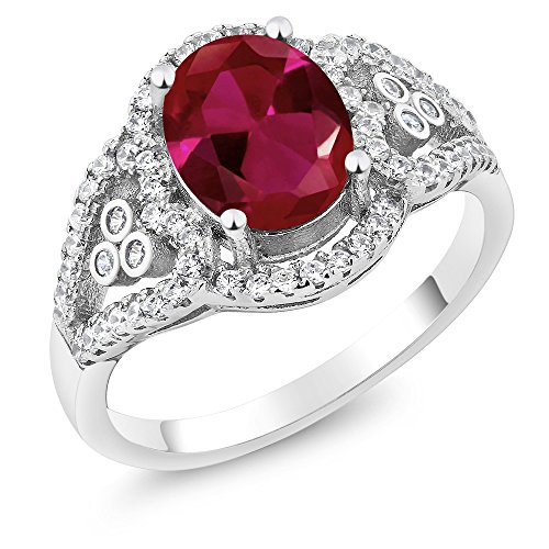 Gem Stone King 2.40 Ct Oval Red Created Ruby 925 Sterling Silver Women's Ring (Size 5)