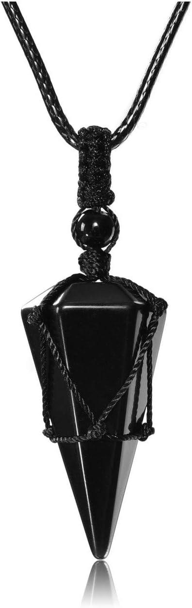 "Natural Crystal pendant obsidian Quartz point chakra hexagonal pendulum 6/"" Chain"