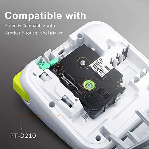 Oozmas Cinta Compatible para Usar en Lugar de Brother P-Touch TZ Tape 12mm 0.47, Compatible Brother Pt-1000 Pt-1010 PT-1080 PT-E100 PT-D600, TZe-231 TZe-335 TZe-T535 TZe-MQP35 TZe-MQG35, Pack de 5…